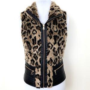 Ci Sono Faux Fur Leather Animal Print Sherpa Vest